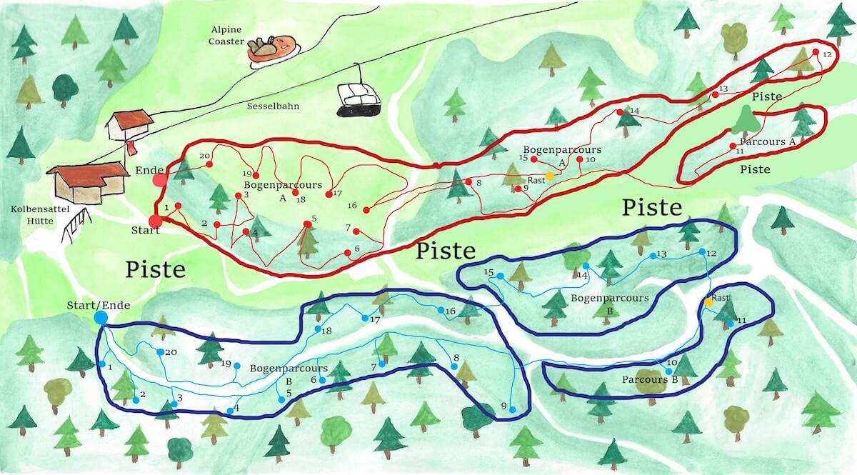 Karte Bogenparcours Ammer-Bow Kolbensattel